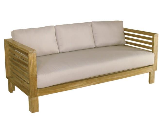 Divano da giardino a 3 posti in legno saint tropez for Divano esterno legno