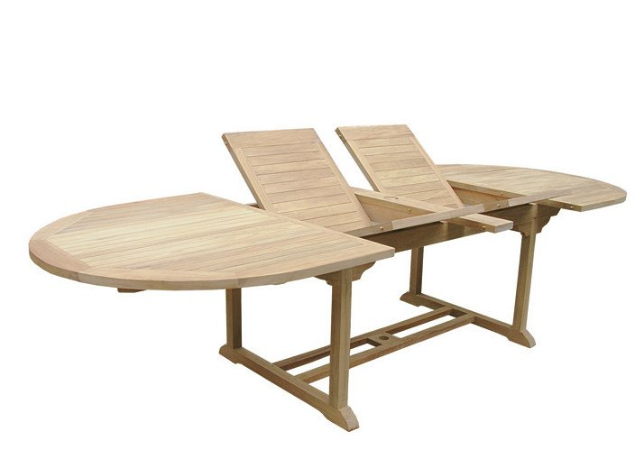 Extending Oval wooden garden table GOLIA by Il Giardino di Legno