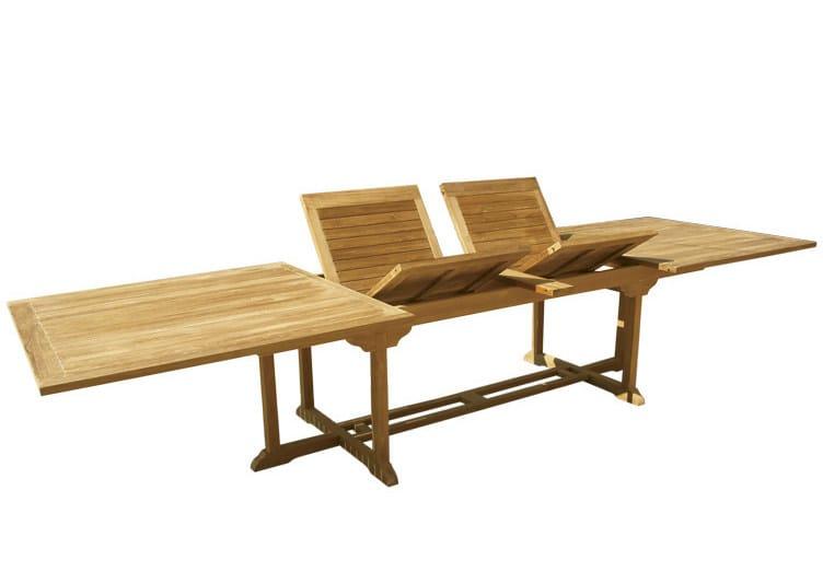 Extending Rectangular wooden garden table OLIMPO | Rectangular garden table by Il Giardino di Legno