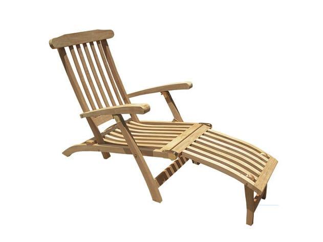Teak deck chair with footrest OCEAN by Il Giardino di Legno