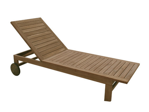 Recliner wooden garden daybed with Casters IPANEMA by Il Giardino di Legno