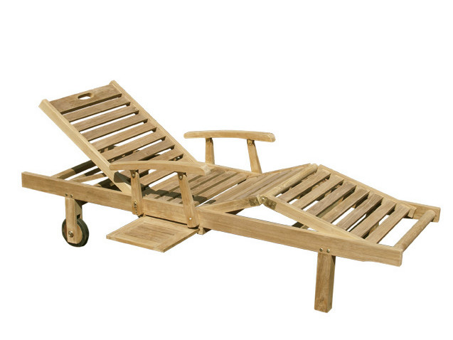 Recliner wooden garden daybed with Casters CARIBE by Il Giardino di Legno
