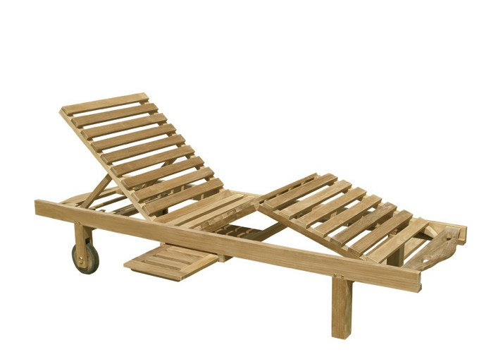 Recliner wooden garden daybed with Casters CARACAS by Il Giardino di Legno