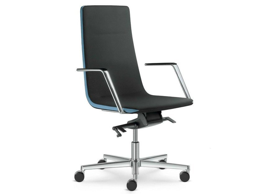 Height-adjustable swivel executive chair with armrests HARMONY | Leather executive chair by LD Seating