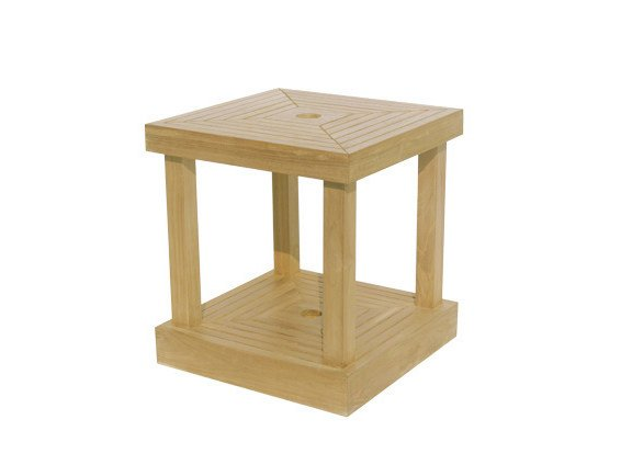 Square Wooden Garden Side Table With Umbrella Hole Base By Il Giardino Di Legno