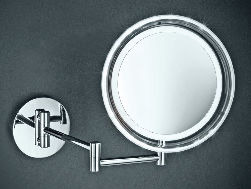 Wall-mounted shaving mirror with integrated lighting BS 16 by DECOR WALTHER