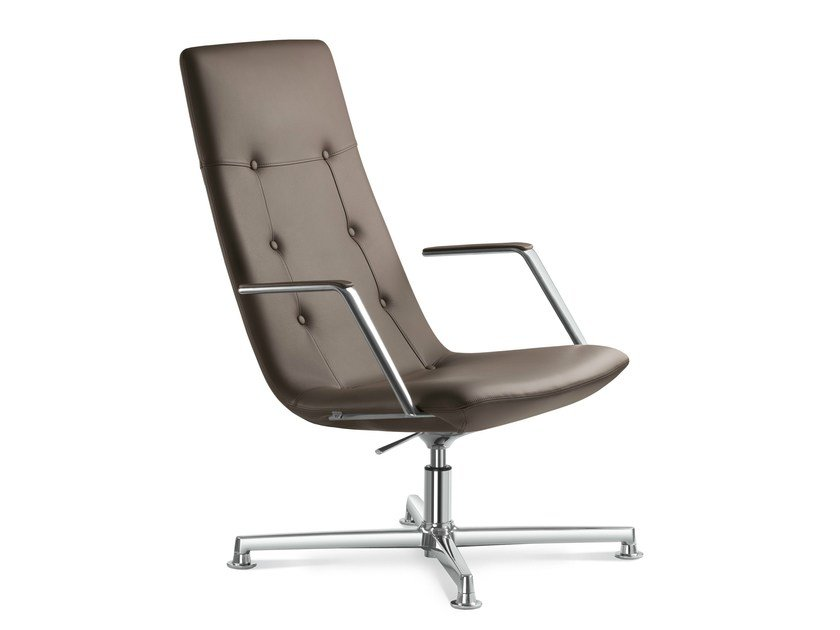 High-back executive chair with 4-spoke base SKY CLASSIC | Leather executive chair by LD Seating