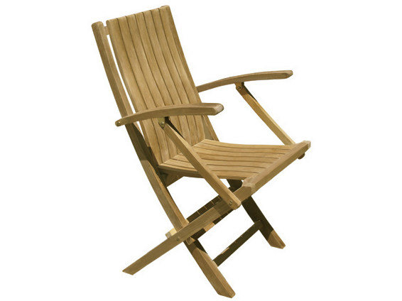 Folding wooden garden chair with armrests ONDA | Garden chair with armrests by Il Giardino di Legno
