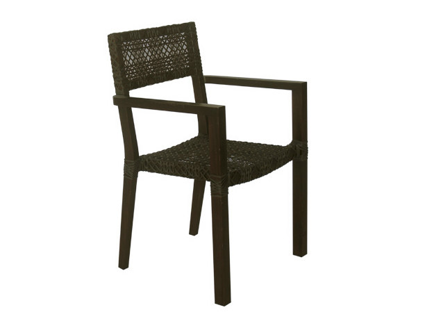 Synthetic fibre garden chair with armrests KROSS | Garden chair with armrests by Il Giardino di Legno