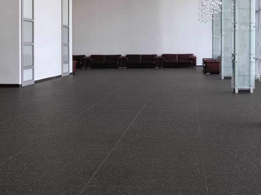 Techlam® flooring with granite effect BLIZZARD BLACK by Levantina