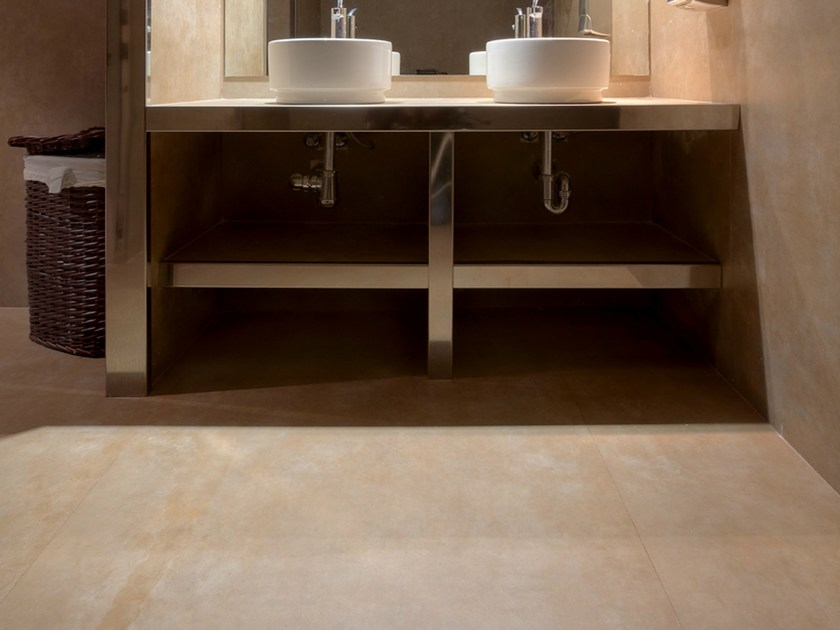 Ultra thin Techlam® wall/floor tiles with terracotta effect VULCANO HUMO by Levantina