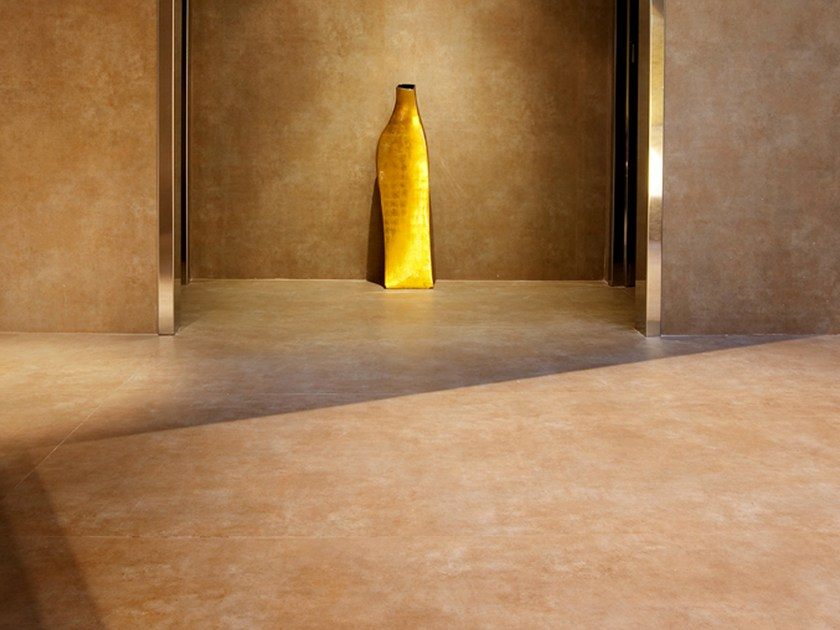 Ultra thin Techlam® wall/floor tiles with terracotta effect VULCANO VAPOR by Levantina