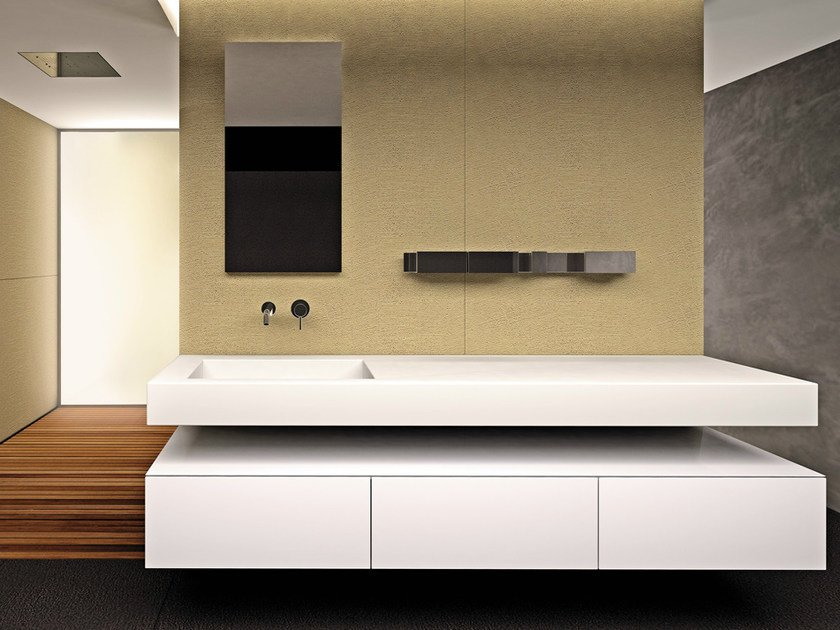 Lacquered wall-mounted vanity unit with doors BLOCK2 | Lacquered vanity unit by Moab80