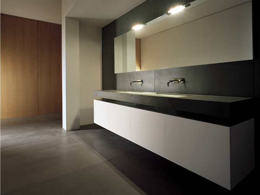Double lacquered vanity unit with doors BLOCK2 | Double vanity unit by Moab80