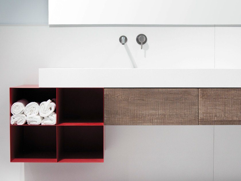 Wall-mounted oak vanity unit with doors BLOCK2 | Vanity unit with doors by Moab80