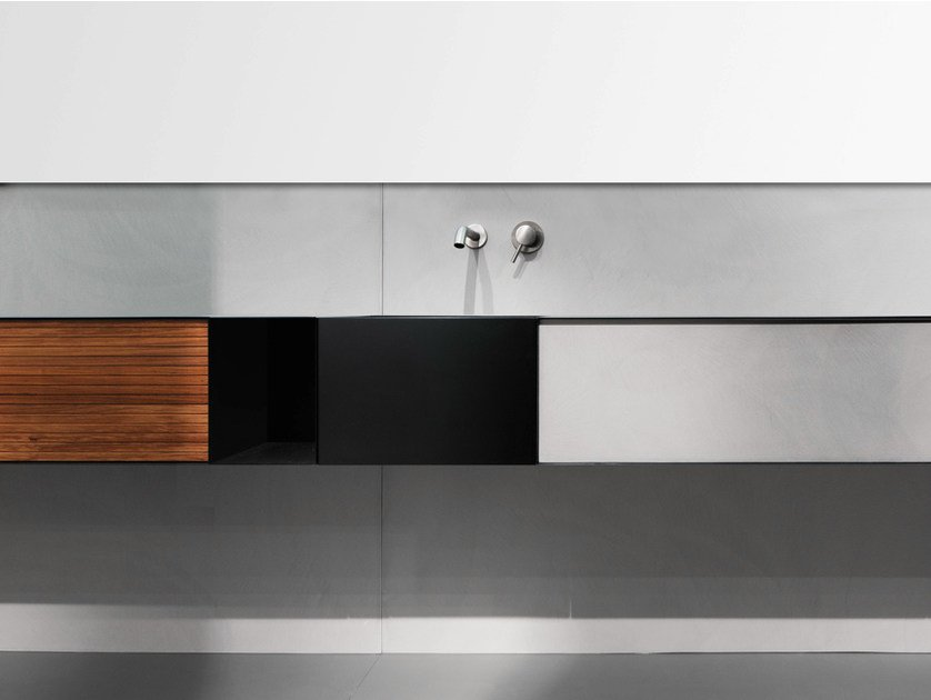 Wall-mounted plate vanity unit with doors ZERO20 | Vanity unit by Moab80