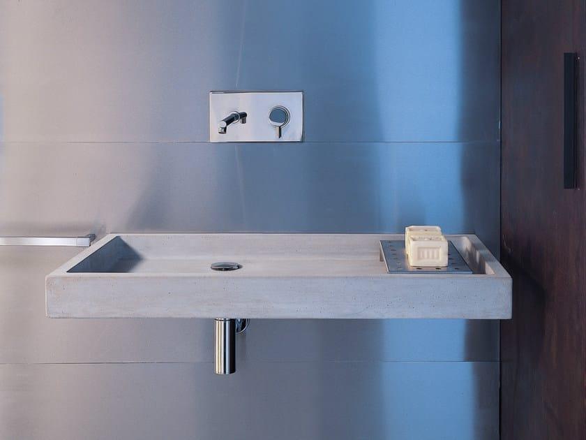 Lavabo rettangolare singolo sospeso in calcestruzzo ELLE | Lavabo in ...