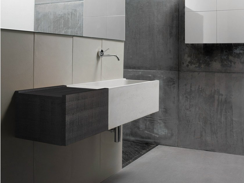 Wall-mounted concrete washbasin with drawers ELLEDUE | Washbasin with drawers by Moab80