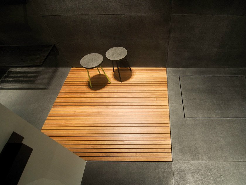 Slatted flush fitting teak shower tray Teak shower tray by Moab80