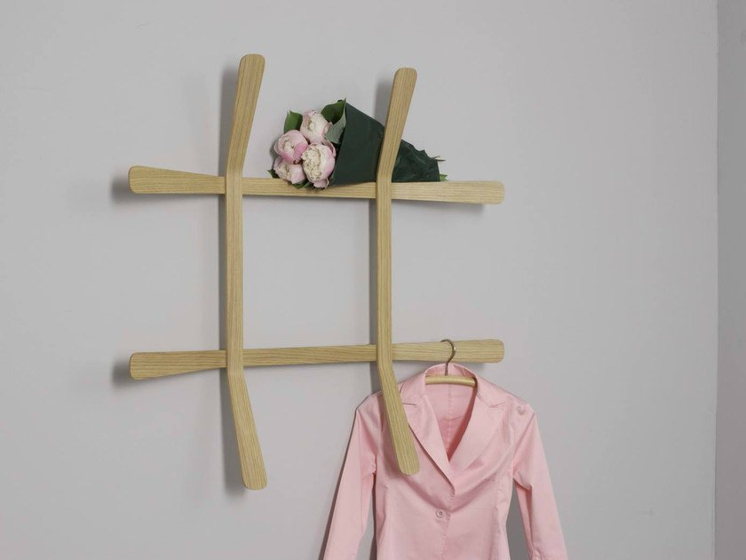 Wall-mounted multi-layer wood coat rack LILI by MOX