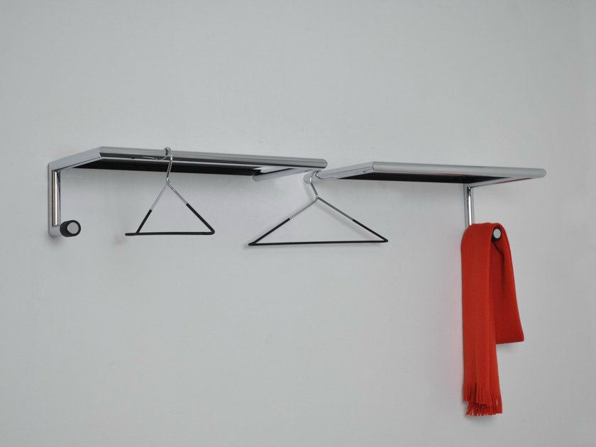 Wall-mounted chrome plated steel coat rack LINK55 by MOX