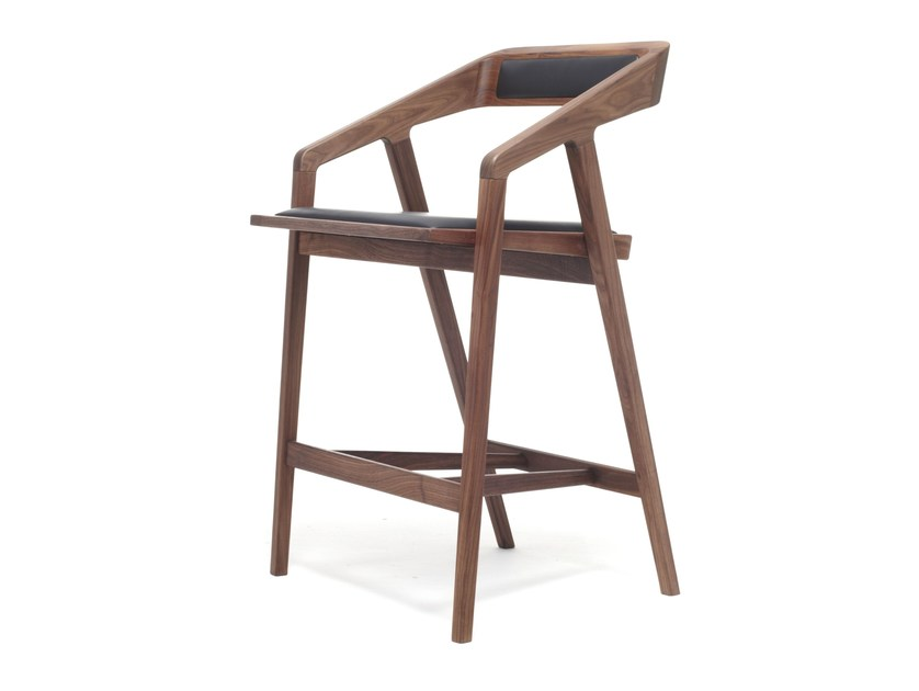 Design wooden barstool with armrests KATAKANA   Stool by Dare Studio