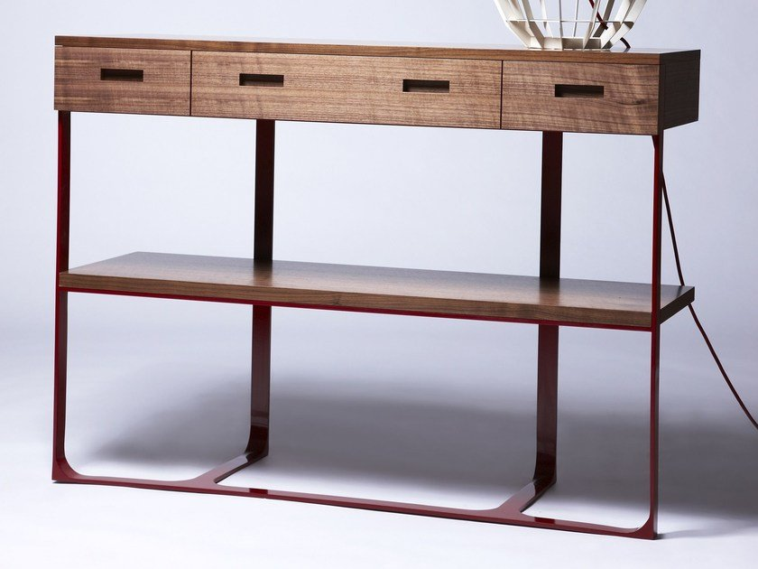 Rectangular walnut console table with drawers SECTION by Dare Studio