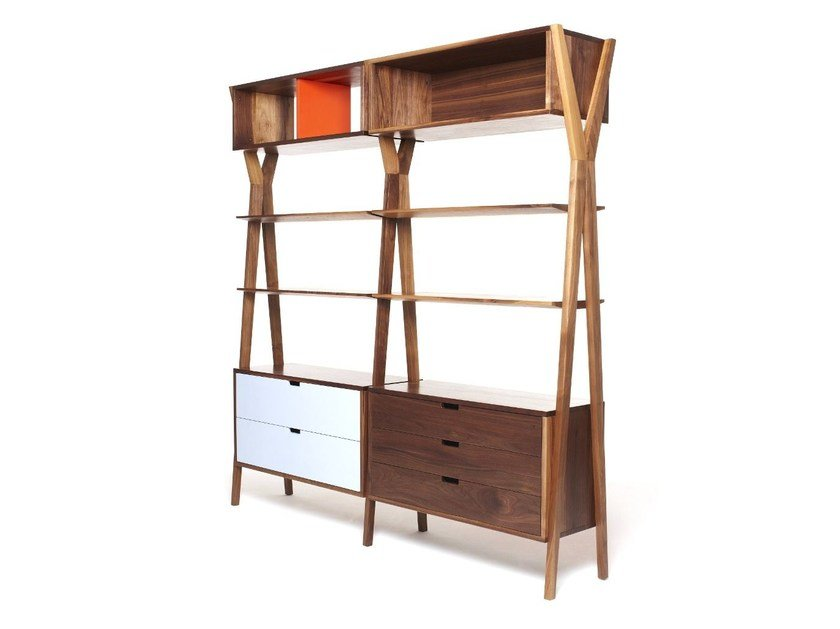 Open modular bookcase with drawers DIXON by Dare Studio