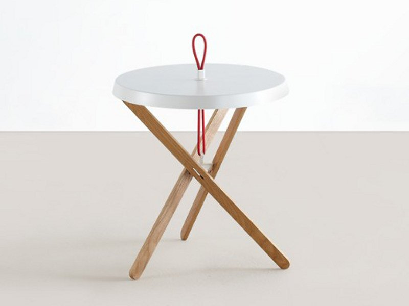 Round steel and wood coffee table MARIONET by MOX