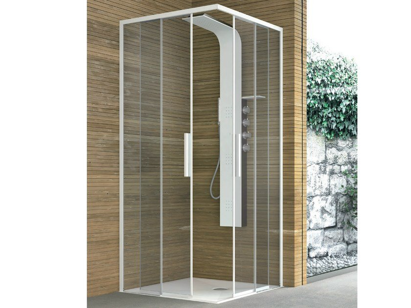 Corner crystal shower with two sliding doors TOP | Shower cabin by Gruppo Geromin