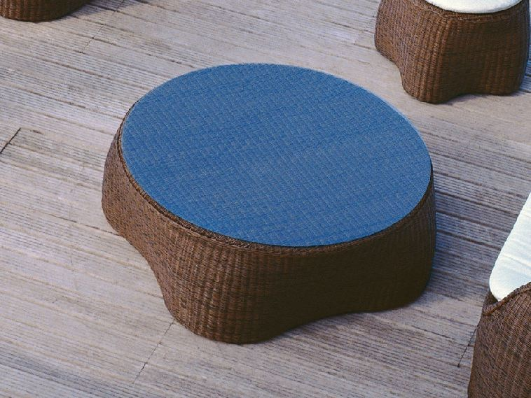 Low Round glass and aluminium garden side table COCONUT   Garden side table by Roberti Rattan