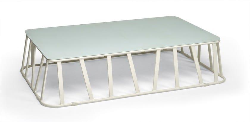 Low Rectangular glass and aluminium garden side table HAMPTONS GRAPHICS   Rectangular coffee table by Roberti Rattan