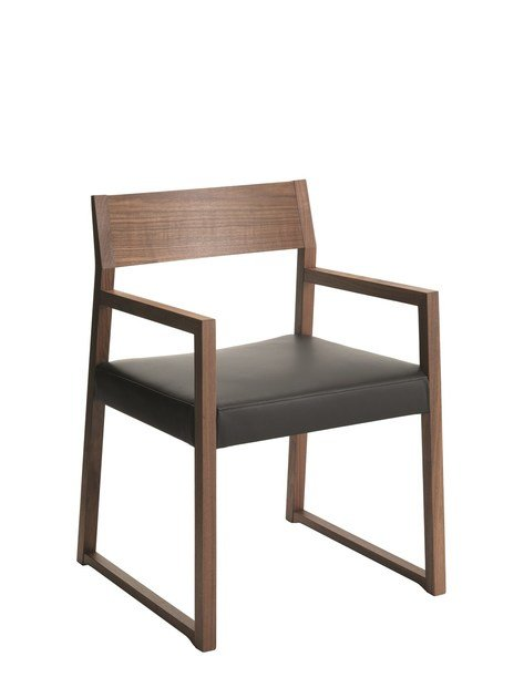 Leather easy chair with armrests LINEA   Easy chair by Cizeta L'Abbate