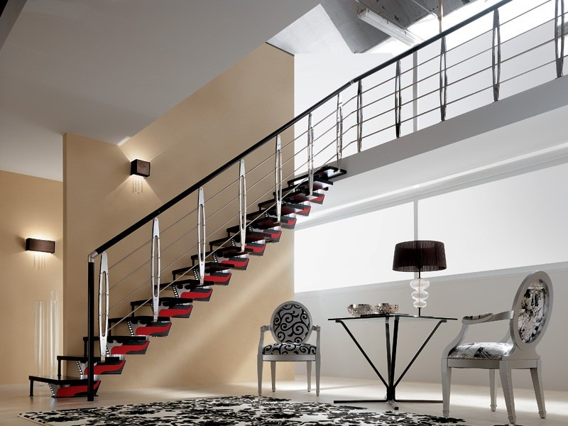 Open staircase with central stringer KNOCK DESIGN by RINTAL