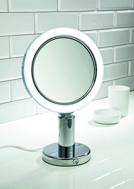 Wall-mounted shaving mirror with integrated lighting BS 12/V by DECOR WALTHER