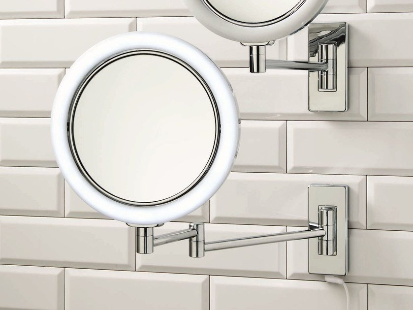Wall-mounted shaving mirror with integrated lighting BS 13/V by DECOR WALTHER