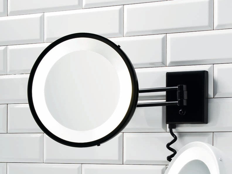 Wall-mounted shaving mirror with integrated lighting BS 25 PL by DECOR WALTHER