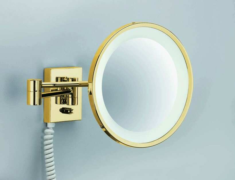 Wall-mounted shaving mirror with integrated lighting BS 40 PL by DECOR WALTHER