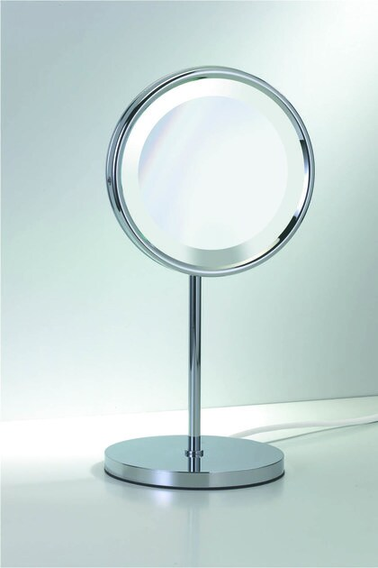 Countertop shaving mirror with integrated lighting SPT 23 by DECOR WALTHER