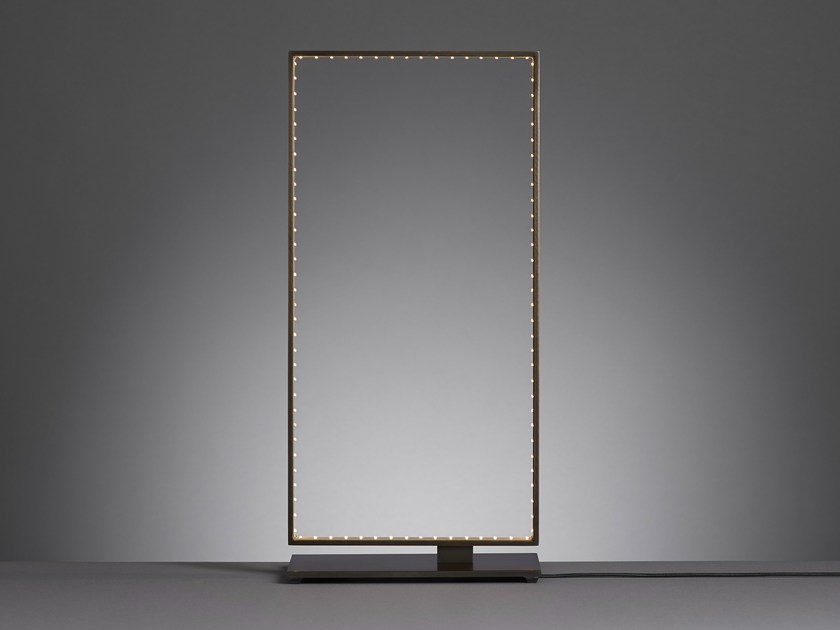 LED direct-indirect light metal table lamp SQUARE 20 by Le Deun Luminaires