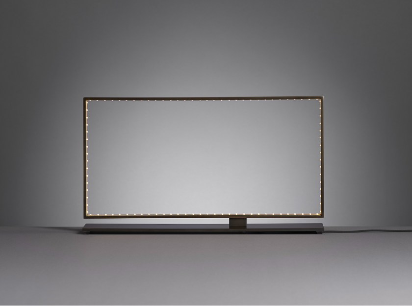 LED direct-indirect light metal table lamp SQUARE 40 by Le Deun Luminaires