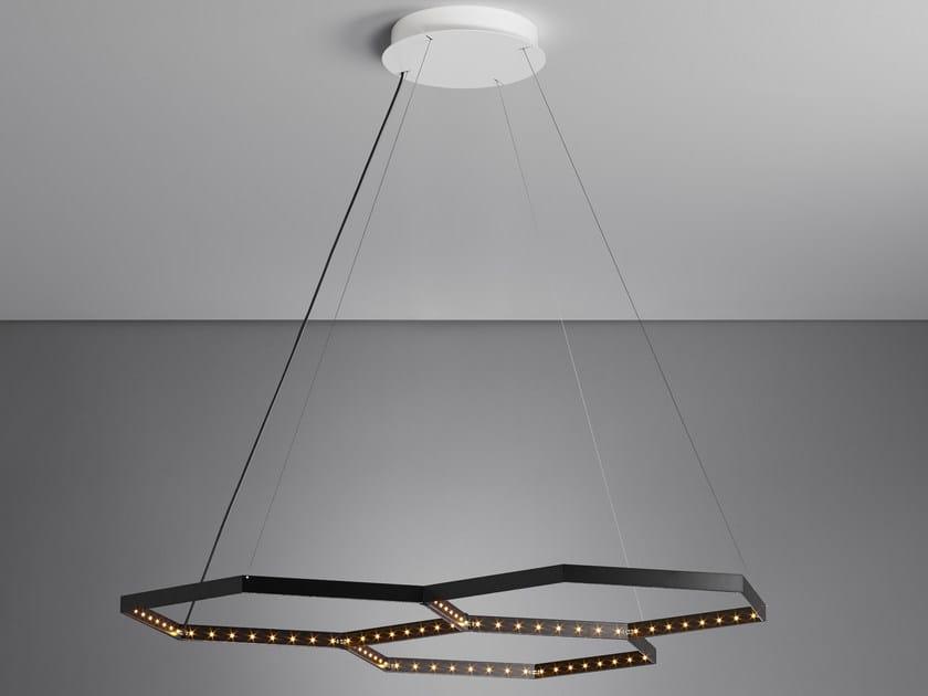 LED direct light indirect light steel pendant lamp HEXA 3 by Le Deun Luminaires