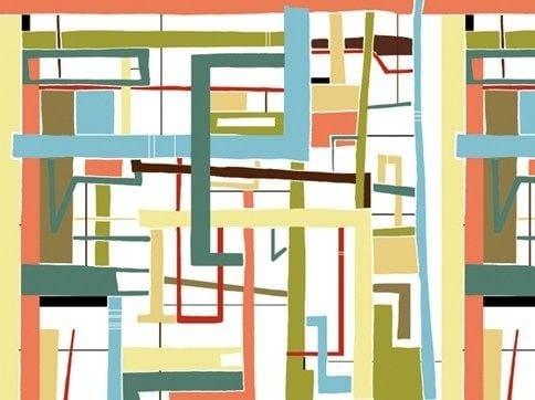 Geometric wallpaper LABYRINTH by Wall&decò