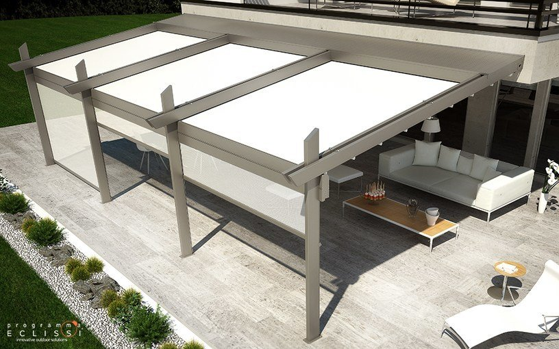 Aluminium pergola with sliding cover with built-in lights MAJESTIC by DIRELLO