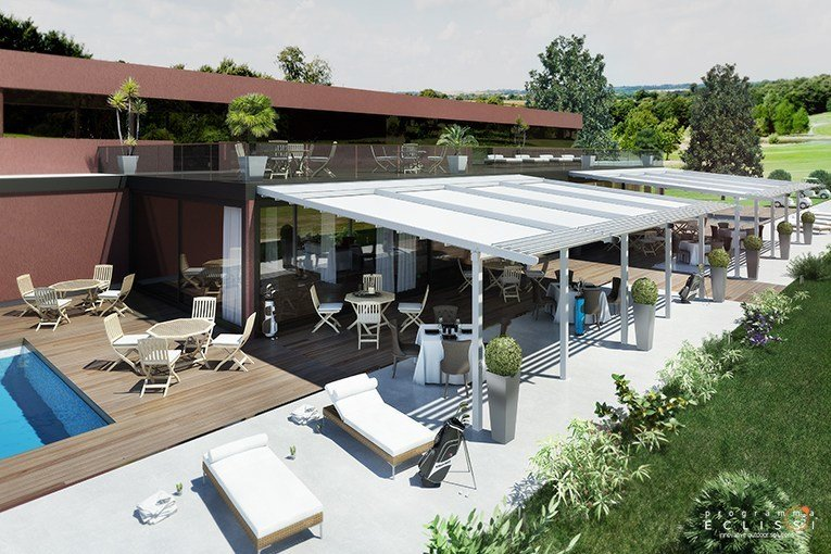 Aluminium pergola with sliding cover with built-in lights FUSION by DIRELLO
