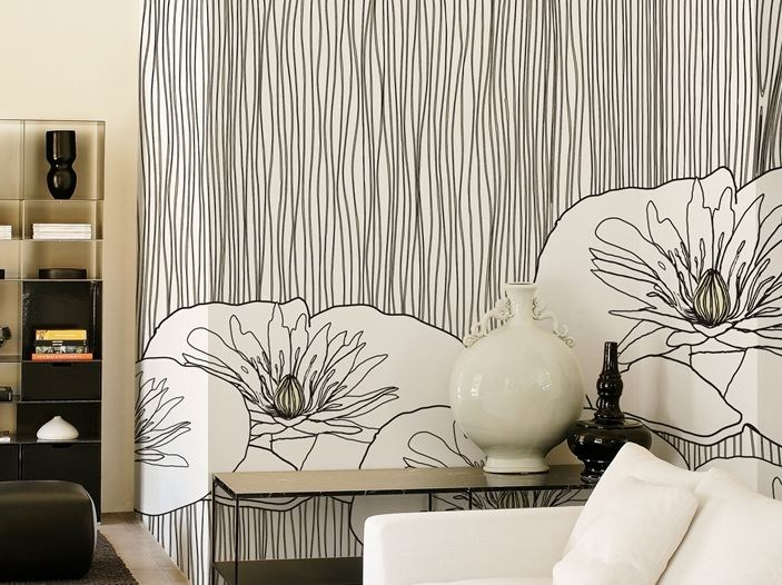 Wallpaper with floral pattern LOTUS by Wall&decò