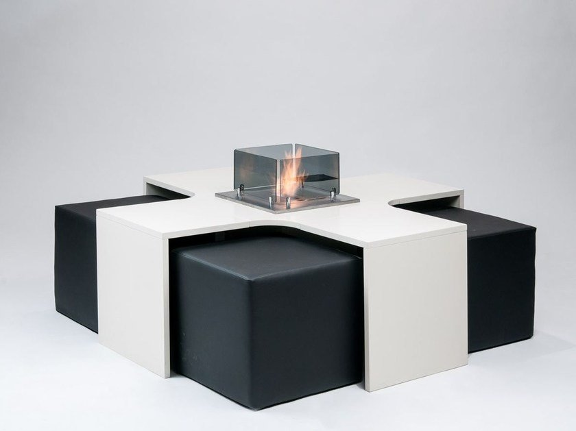Wooden fireplace / coffee table MEET by Officine del Fuoco