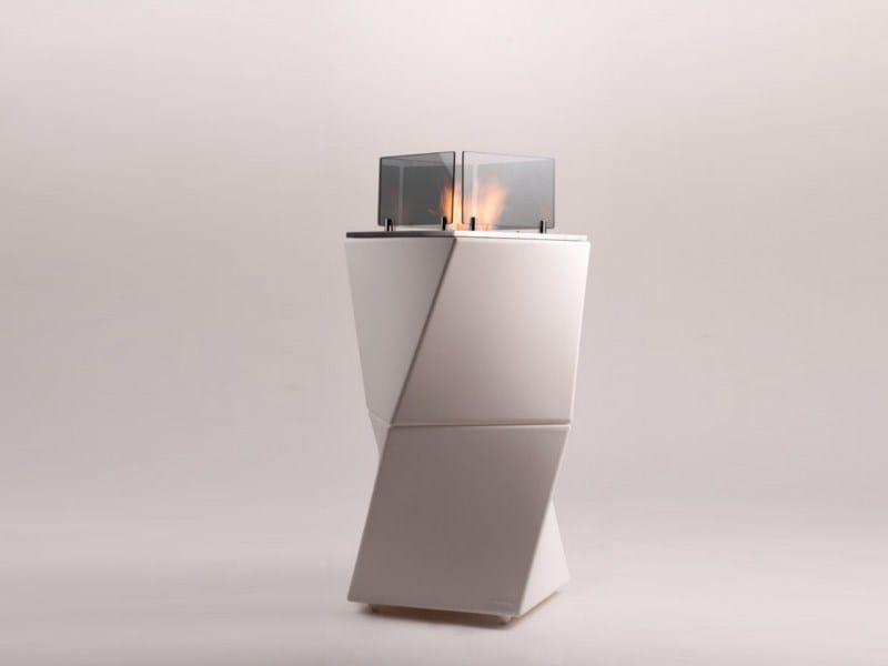 Freestanding bioethanol polyethylene fireplace TWISTY FIRE by Officine del Fuoco
