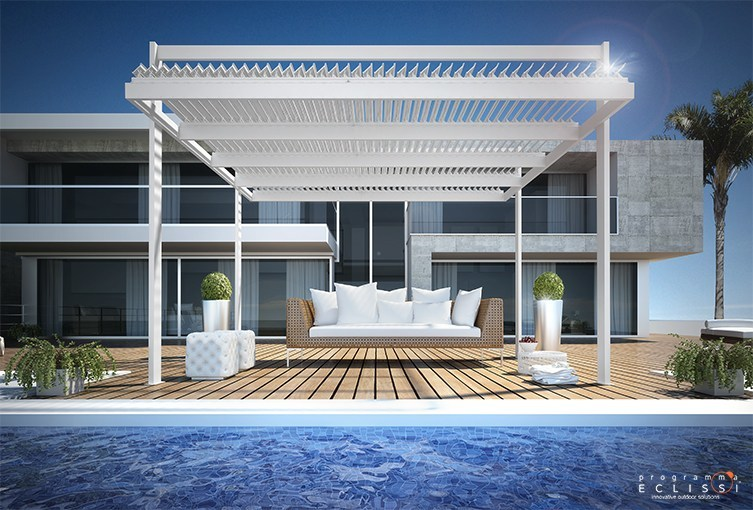 Aluminium pergola with adjustable louvers with built-in lights KOEVO AUTOPORTANTE by DIRELLO
