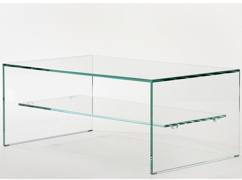 Coffee table with extra clear tempered glass frame TRANSPARENCE - ZEN 1 by Adentro